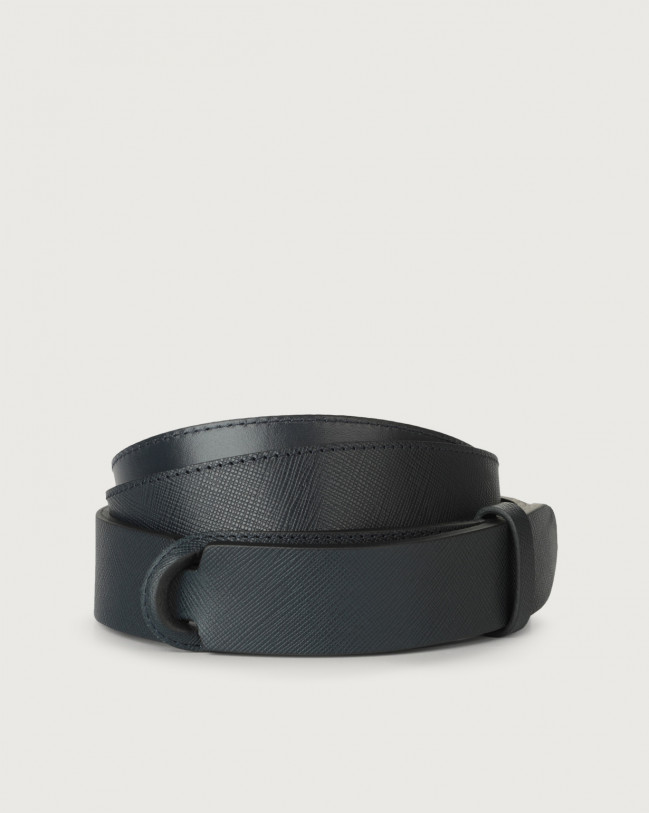 Orciani Saffiano leather Nobuckle belt Leather Blue
