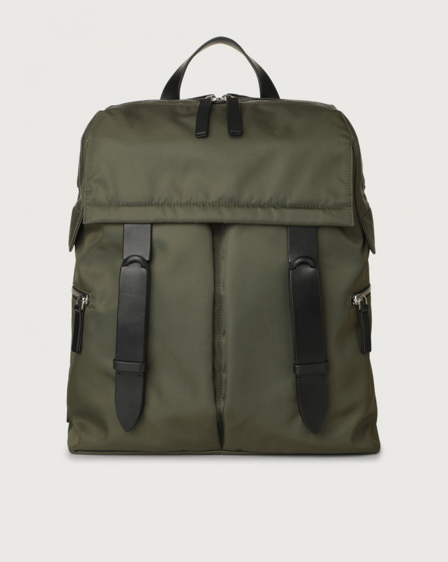 Orciani Nobuckle Eco-logic Planet backpack Canvas, Leather Green