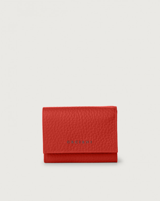 Orciani Soft small leather envelope wallet with RFID Leather Marlboro red