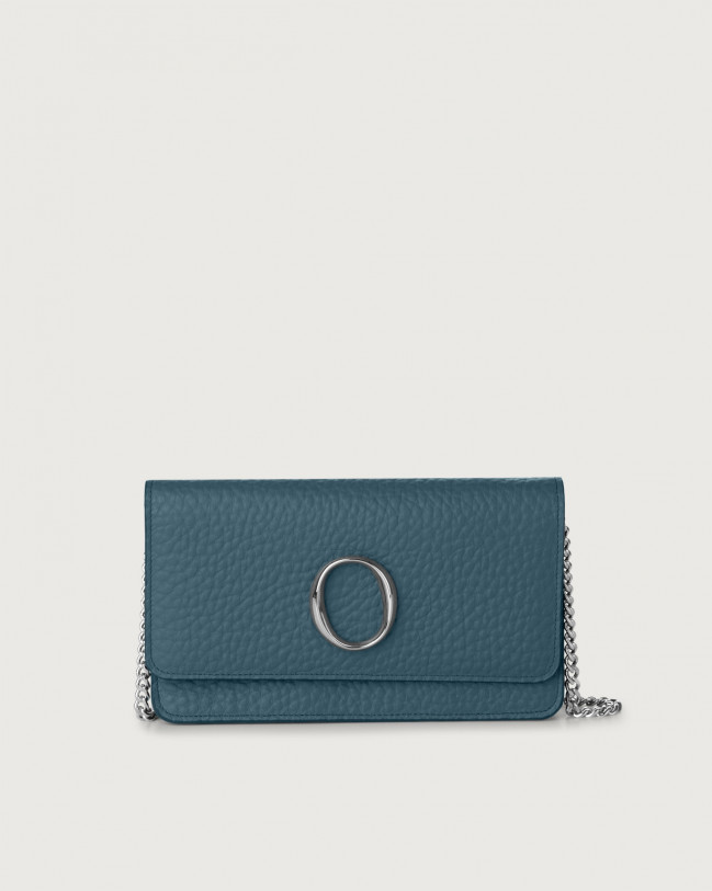 Orciani Soft leather pochette with RFID Leather Blue