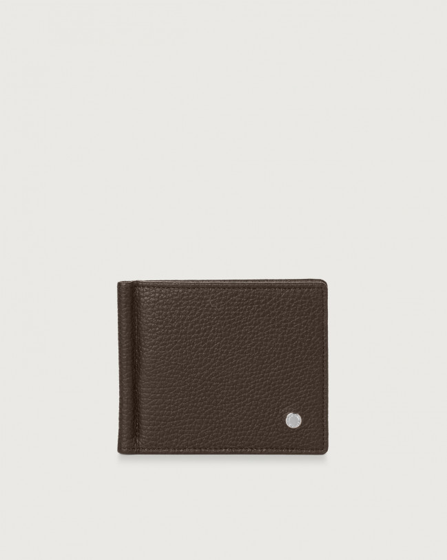 Orciani Micron leather wallet with money clip Leather Chocolate