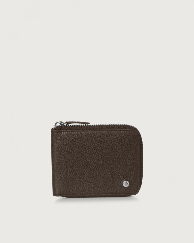 Orciani Micron leather wallet with coin pocket Chocolate
