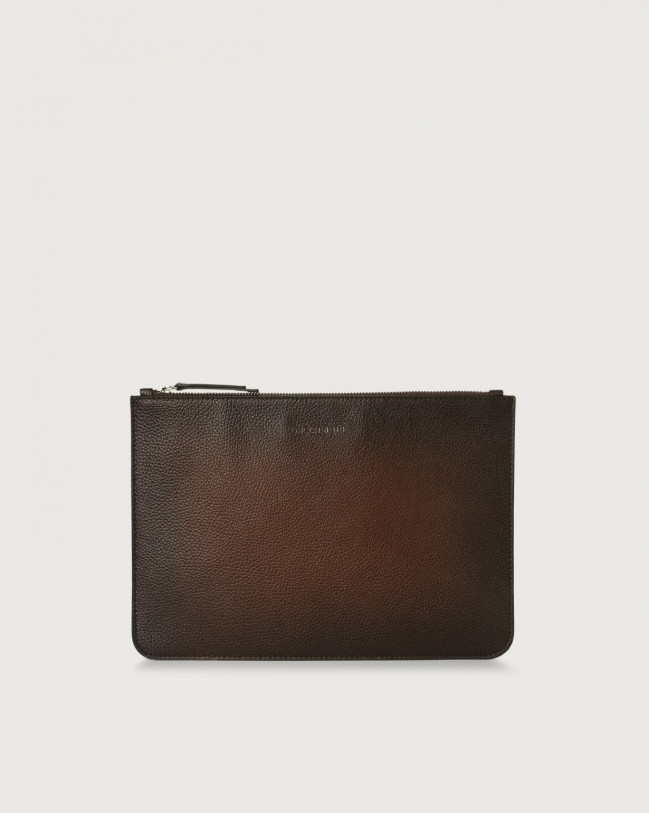 Orciani Micron Deep large leather pouch Burnt