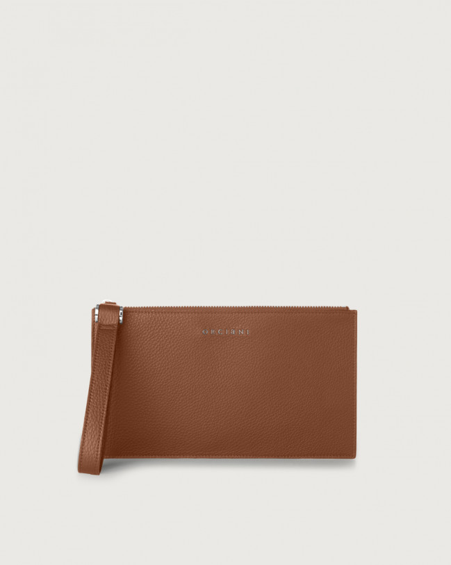 Orciani Micron leather pouch with wristband Burnt