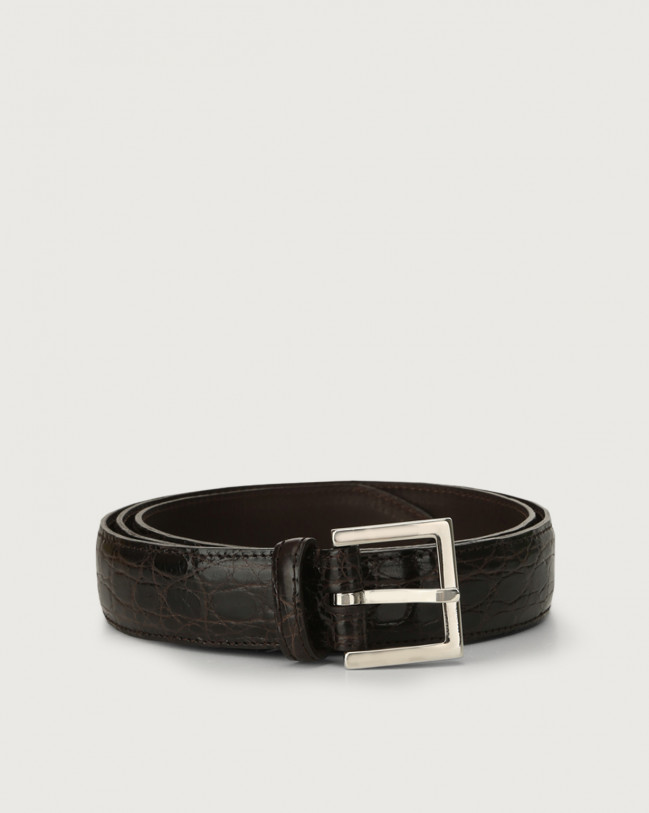 Orciani Cocco Fianco Lucido classic crocodile leather belt 3 cm Crocodile Leather Chocolate