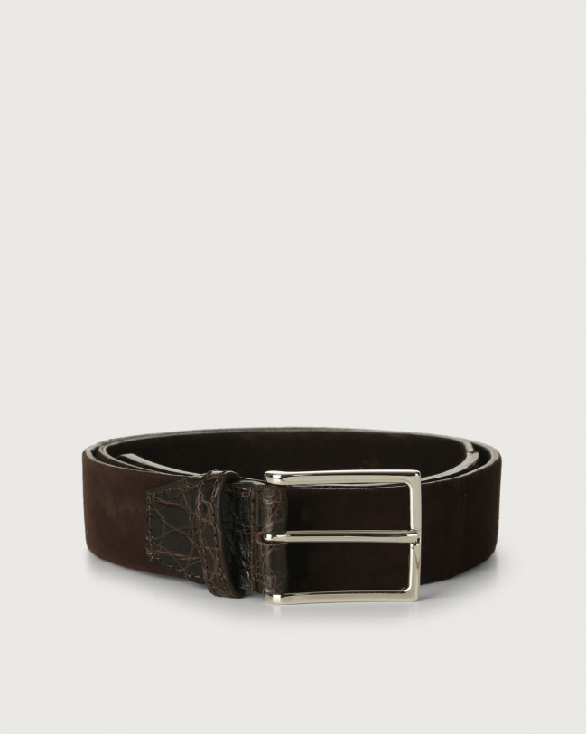 Orciani Camoscio cocco suede and crocodile leather belt Crocodile Leather, Suede Chocolate