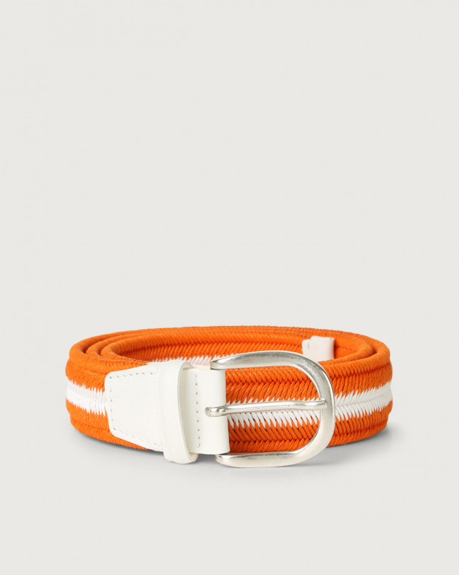 Orciani Elast Duo woven stretch cotton belt Leather & cotton Orange