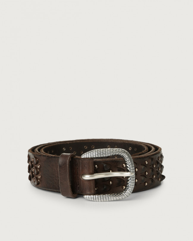 Orciani Stain leather belt Leather Chocolate