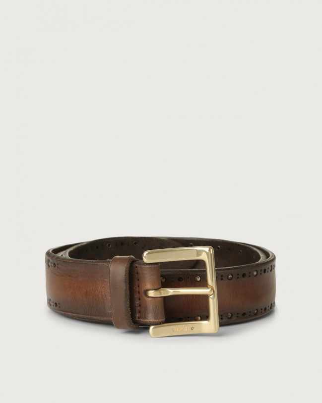 Orciani Buffer leather belt with micro-studs Leather Cognac