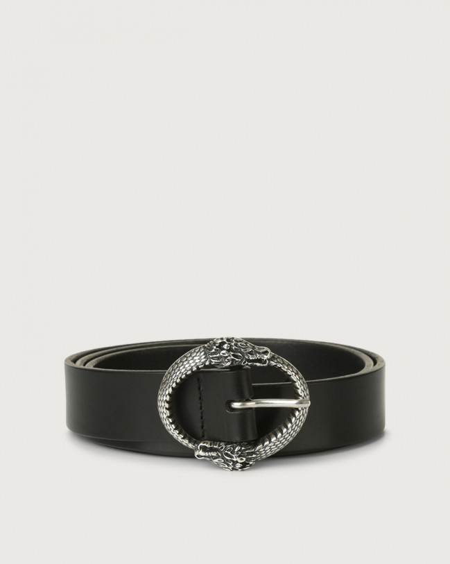 Orciani Bull leather belt with dragon buckle Leather Black