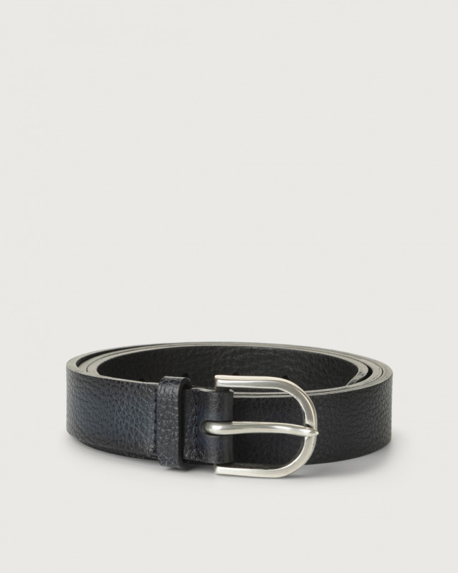 Orciani Micron Deep leather belt Leather Navy