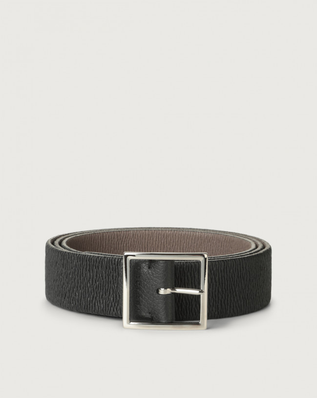 Orciani Micron Double reversible leather belt Leather Black+Mud