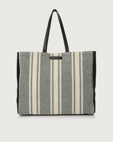 Le Sac Canvas fabric and leather tote bag
