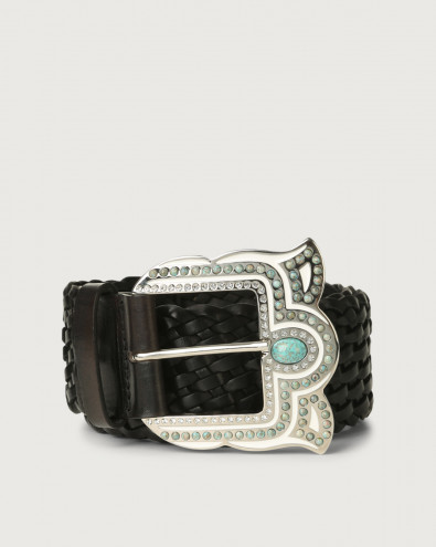 Masculine high-waist woven leather belt