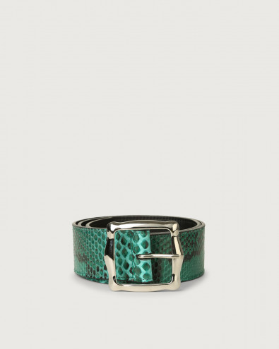 Diamond high-waist pyhton leather belt
