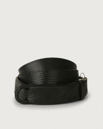 Grit leather Nobuckle belt