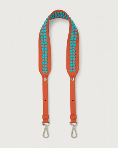 Soft adjustable leather strap contrasting color decoration