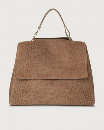 Sveva Cashmere large suede shoulder bag with strap