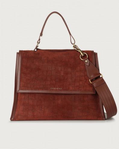 Sveva Coco large suede shoulder bag with strap