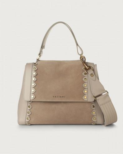 Sveva Duna Stud medium suede and leather shoulder bag with strap