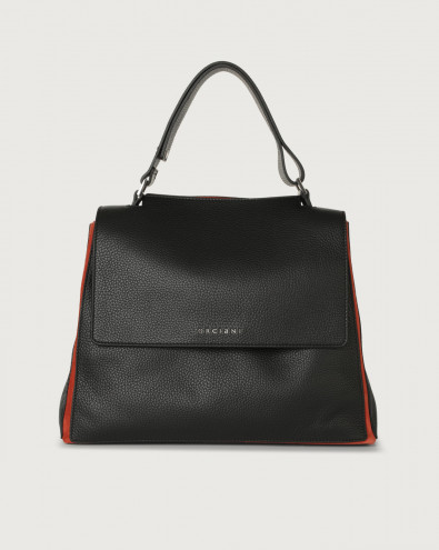 Sveva Warm medium leather shoulder bag with strap