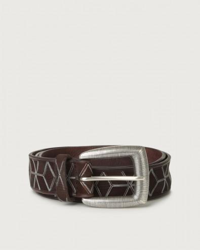 Prismatic leather belt