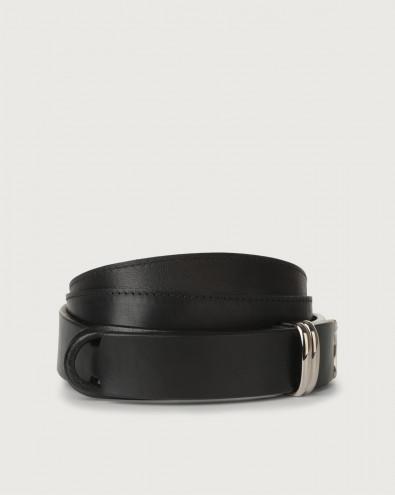 Bull leather Nobuckle belt metal details