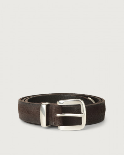 Hunting brushed suede belt with metal loop and tip