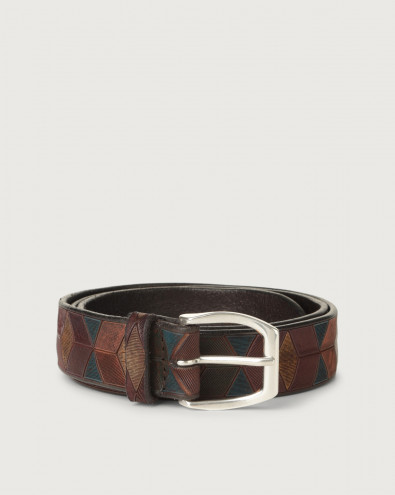 Color Block leather belt
