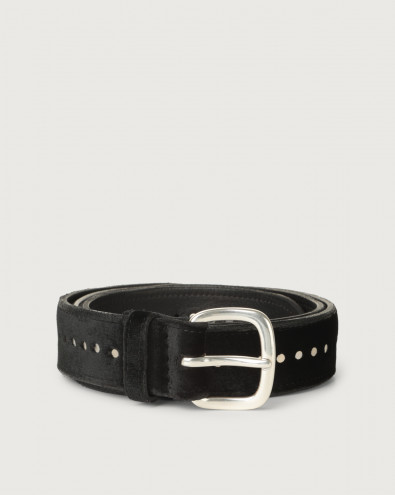 Velvet and leather belt with micro-studs