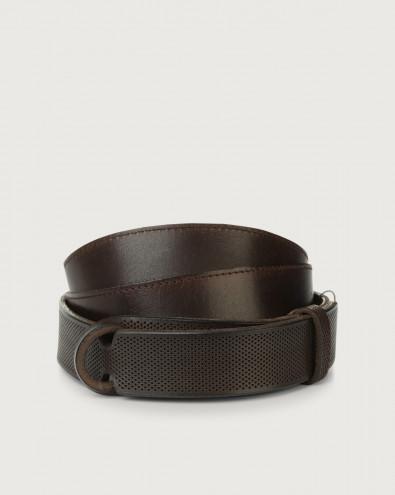 Dive Holes leather Nobuckle belt