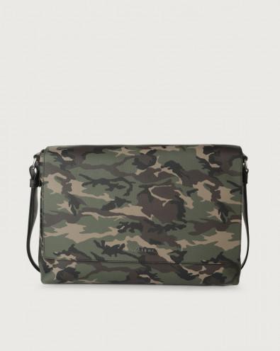 Camouflage leather messenger bag