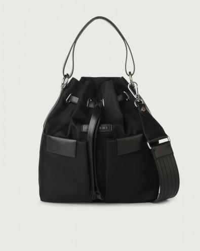 Tessa Ecoline medium eco-nylon and leather bucket bag