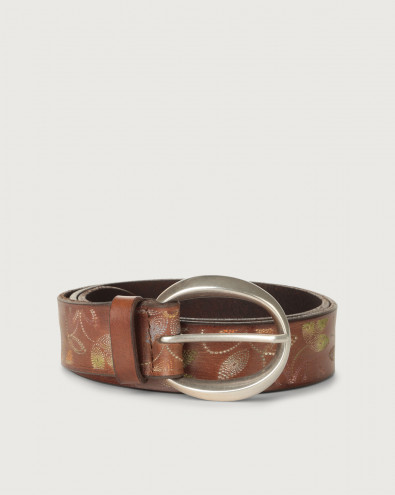 Flower Point leather belt