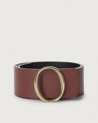 Liberty Double high-waist leather belt brass buckle