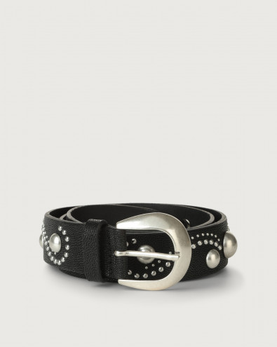 Frog leather belt with studs