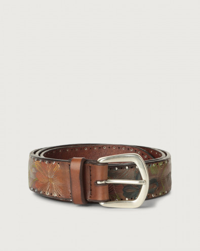 Tapestry micro-studs leather belt