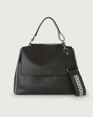 Sveva Warm medium leather shoulder bag with strap