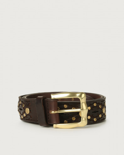 Bull Soft leather belt with brass details