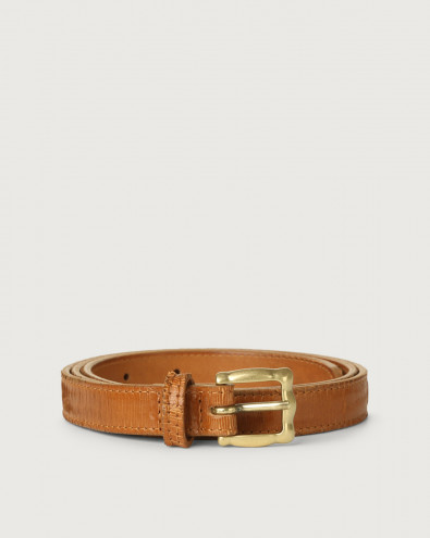 Cutting thin leather belt with brass buckle