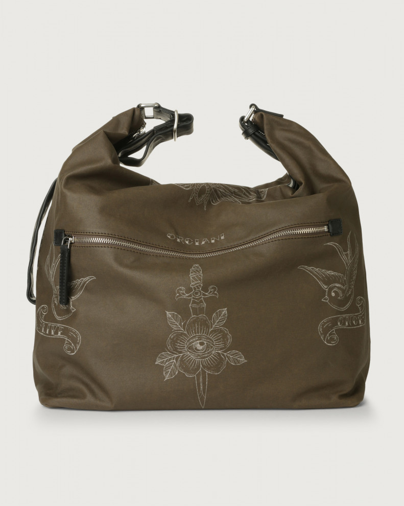 Skin large fabric and leather crossbody bag