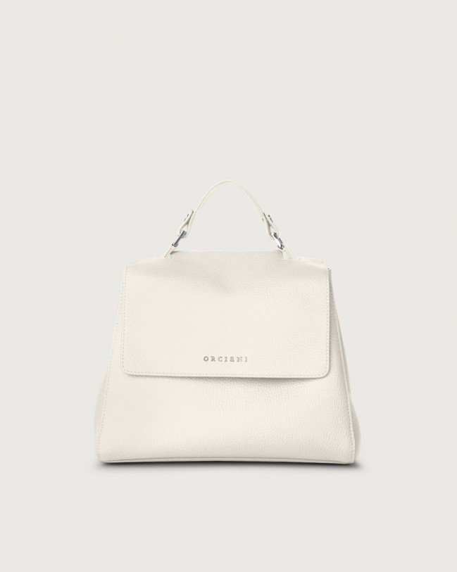 Orciani Sveva Micron small leather handbag with strap Leather White