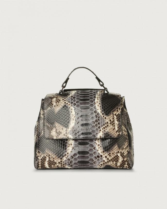 Orciani Sveva Naponos small python leather handbag Python Leather Grey