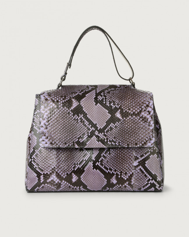 Orciani Sveva Diamond medium python leather shoulder bag Python Leather Lavander