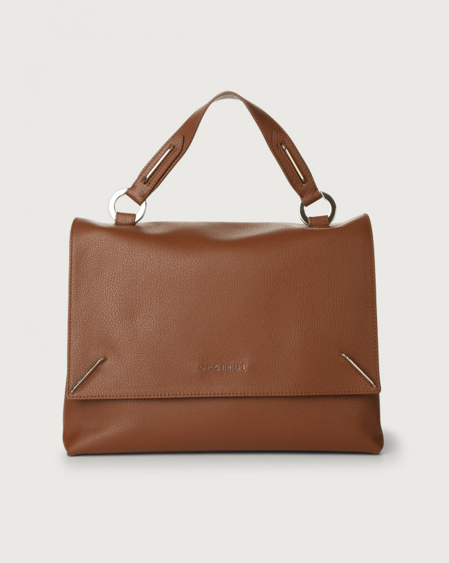 Orciani Kate Micron leather handbag with double flat Leather Burnt