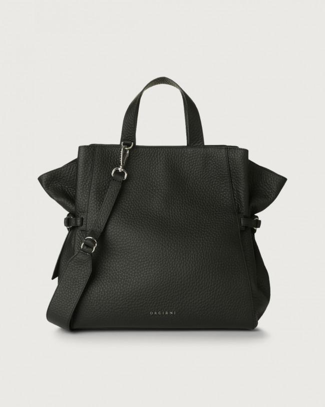Orciani Fan Soft large leather handbag Leather Black