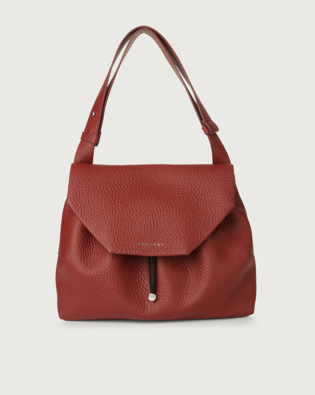 Orciani Alexa Soft leather shoulder bag with flap Leather Dark Red