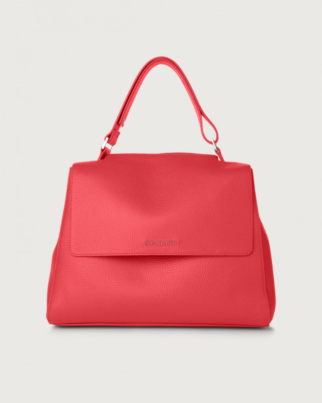 Orciani Sveva Micron medium leather shoulder bag with strap Leather Fuchsia