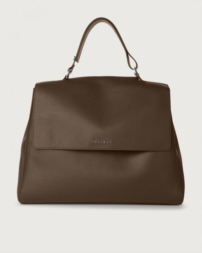 Orciani Sveva Micron large leather shoulder bag with strap Brown