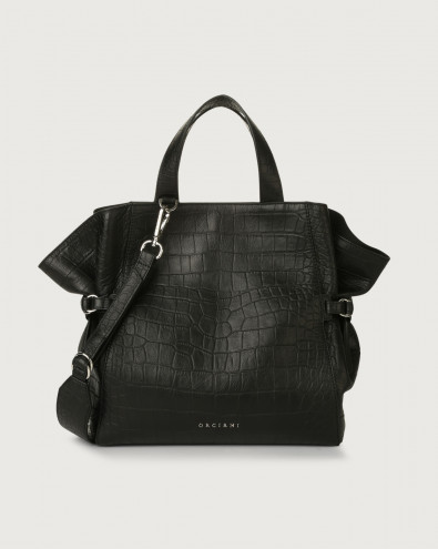 Fan Kindu medium croc-effect leather handbag